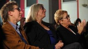 La candidate Louise Mailloux (à gauche) et la première ministre sortante, Pauline Marois (à droite)