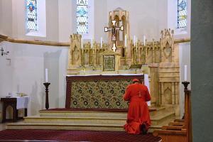 Le cardinal Burke priant devant le tabernacle à Melbourne, Australie